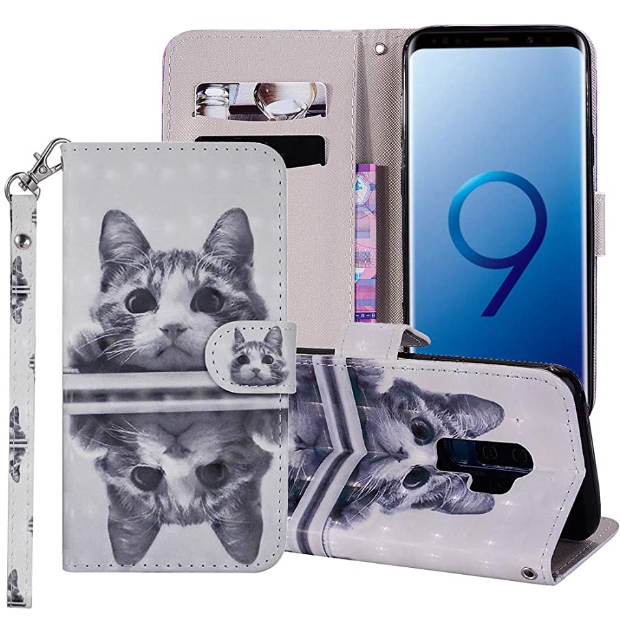 XYX Wallet Phone Case for Galaxy S9 Plus,[Wrist Strap] Painted Effect Design PU Leather Wallet Phone Case Cover for Samsung Galaxy S9 Plus - Mirror cat