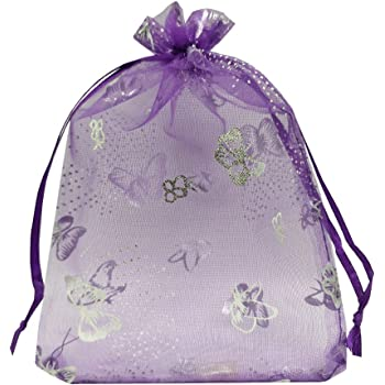 Butterfly Wholesale Bulk organza jewellery pouches 10 colours