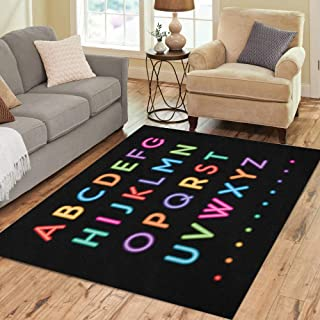 Semtomn Area Rug 5' X 7' Blue Colorful Neon Capital Alphabet Letters to Z Fonts Home Decor Collection Floor Rugs Carpet for Living Room Bedroom Dining Room