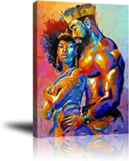 Premium Canvas Wall Art, Prints King and Queen Crown Decor Photo Paintings, Decorative Artwork for Bedroom Home Office Framed Ready to Hang 16