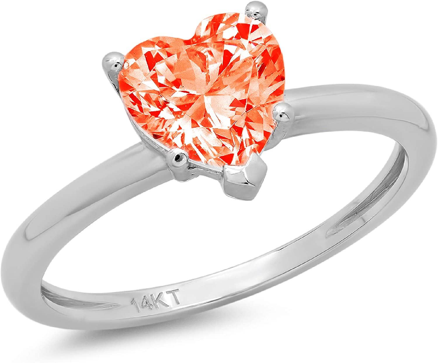 1.9ct Brilliant Heart Cut Solitaire Stunning Genuine Red Simulated Diamond Cubic Zirconia Ideal VVS1 D 5-Prong Engagement Wedding Bridal Promise Anniversary Ring Solid 14k White Gold for Women