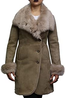 Women's Biege Spanish Merino Lamb Suede Finish Ladies Real Toscana Sheepskin Leather Coat