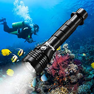 BlueFire Professional 2000LM CREE XHP-50 Scuba Diving Flashlight Submarine Light 150M Underwater Diving Torch Light with 26650 Batteries and Charger