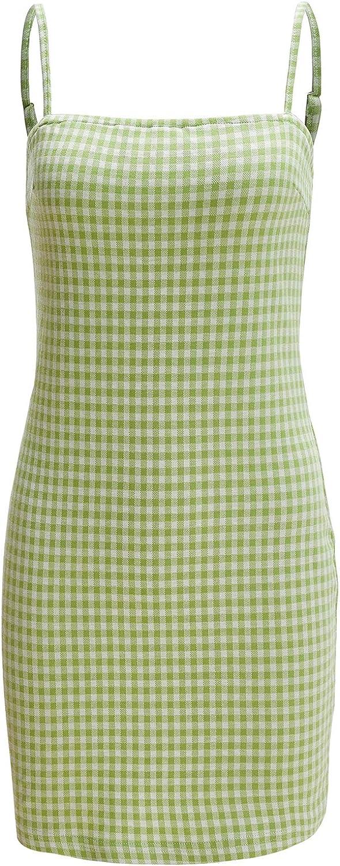 Verdusa Women's Plaid Print Mini Cami Bodycon Dress