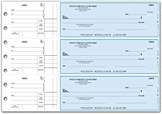 CheckSimple 3-Per-Page All-Purpose Manual Business Checks with Stub Voucher (50 Checks) - Custom