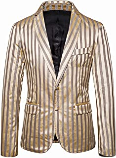 PPPPA Men's Striped Linen Cotton Lightweight Slim Fit Casual Suit Blazer Slim Fit Floral Printed Button Prom Jacket Sport ...