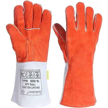 耐熱グローブ キャンプグローブ bbq 手袋 ストーブ 焚き火台 溶接 薪ストーブ 裏起毛 牛革 メンズ 防寒