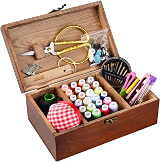 ISOTO Wooden Vintage Sewing Basket with Sewing Kit Accessories Organizer Box for Grandma Mon Girl Women Hobbyist Household...