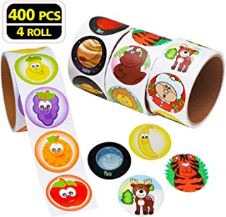 Aaskuu Zoo Animal Sticker with Fruit, Solar System and Santa Claus, Children Kids Roll Stickers for Party Favors, Girl Boy Birthday Gift, Teachers (4 Roll of 400 Stickers)