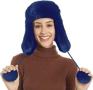 FLY HAWK Winter Earflap Hats for Women, Faux Fur Ushanka Russian Trapper Hat Fuzzy Lined Pompoms Windproof Peruvian Caps Beanie