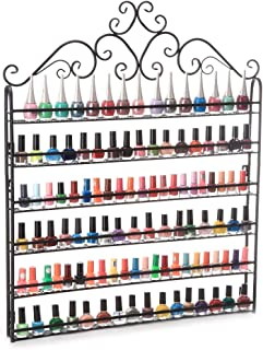 Dazone Dazone® Wall Mount 6 Tiers Nail Polish Rack Organizer Hold 120 Bottles Nail Polish Shelf (Black)