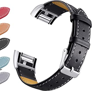 [Newest]for Fitbit Charge 2 Leather Band, Hotodeal Dotted Genuine Leather Wristband with Metal Connectors, Fitness Strap for Men Women Small Large, Black
