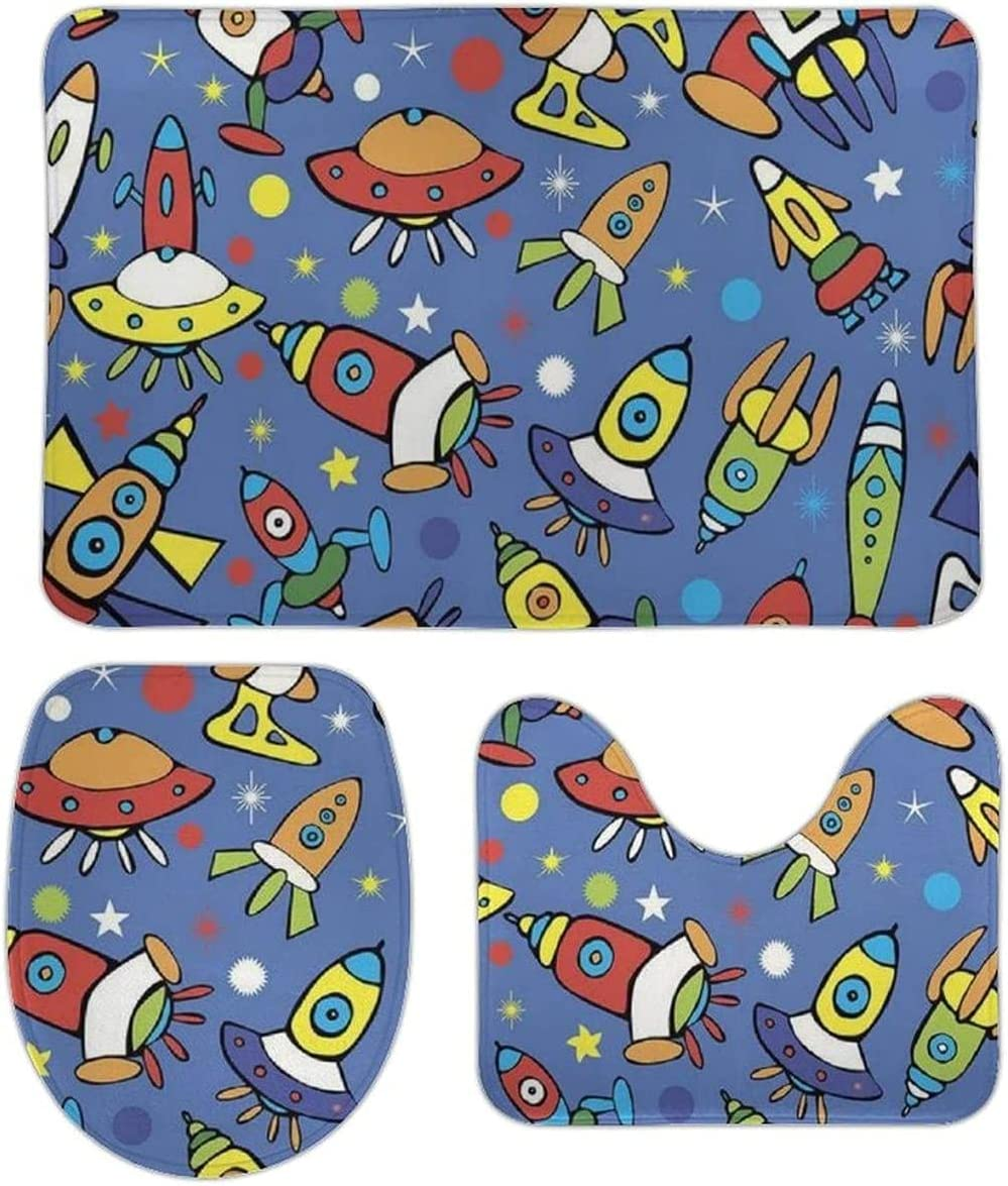 3 Pieces Bathroom Rug Set Shipping included Max 72% OFF Space Ultra Anti-Slip So 5Dk147 Rocket