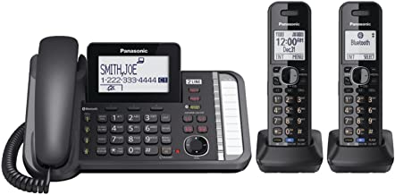 Panasonic 2-Line Corded/Cordless Phone System with 2 Handsets – Answering Machine,..