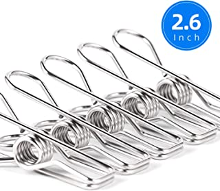 Clothes Pins for Laundry Clips - 28 Pack Heavy Duty Multipurpose Stainless Steel Clothespins Metal Wire Utility Clips Drying Pegs Clamps for Clothesline Outdoor Kitchen Food Bag 2.6 Inch (Silver)
