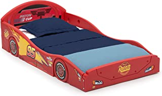 Disney Pixar Cars Lightning McQueen Race Car Sleep and Play Toddler Bed with Attached Guardrails by Delta Children