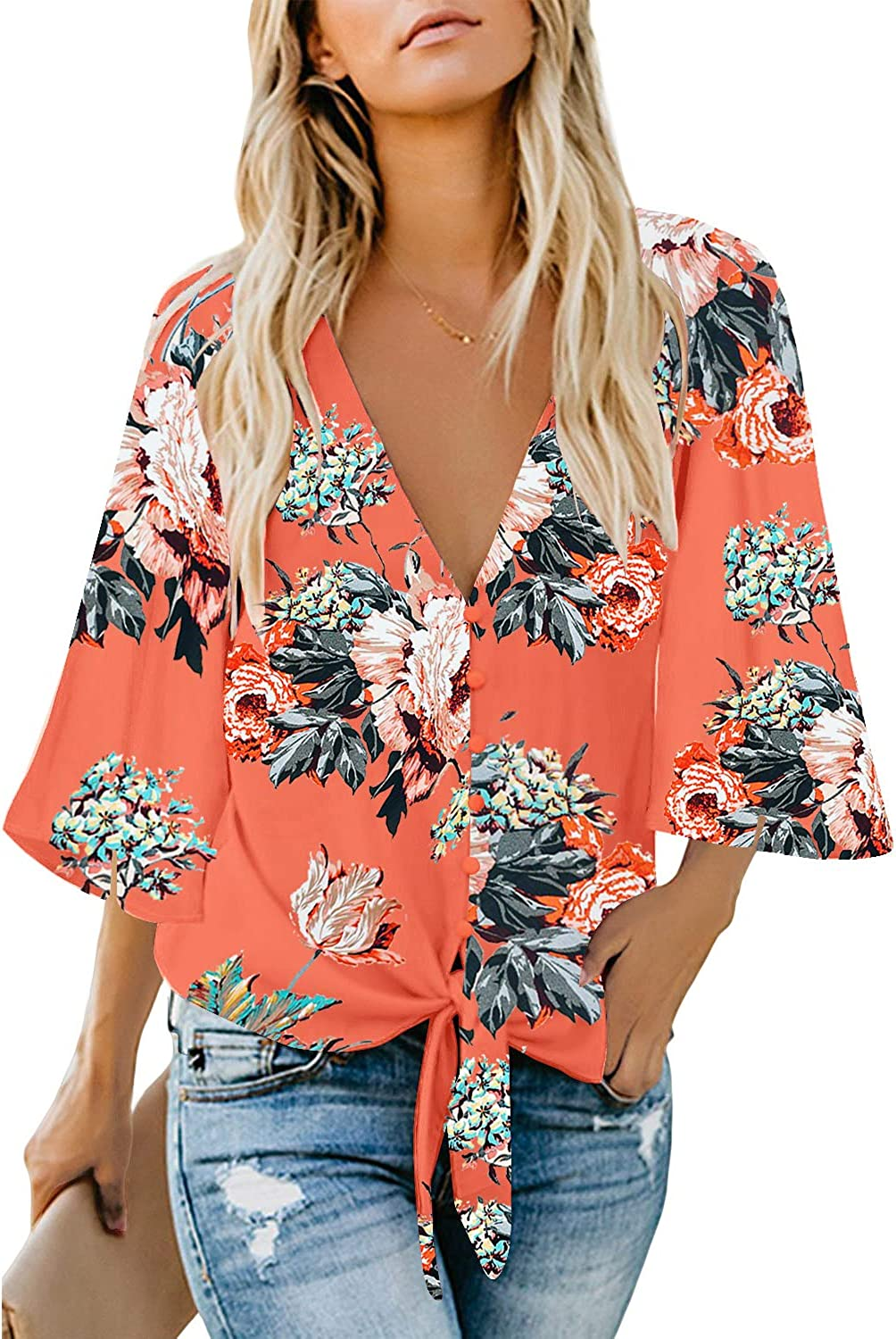 luvamia Women's V Neck Tops 3/4 Sleeve Tie Knot Floral Blouses Button Down Shirts