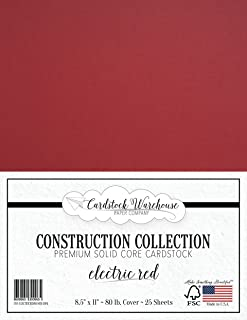 Electric RED Cardstock Paper - 8.5 x 11 inch Premium 80 LB. Cover - 25 Sheets from Cardstock Warehouse