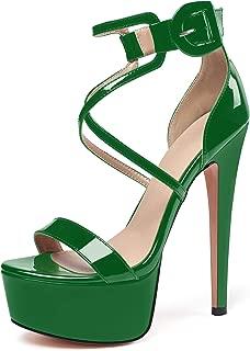 "Eldof Women's Platform Sandals Ankle Strap 5.9"" High Heels Cross Strap Stilettos Open Toe Ankle Strap Crisscross Sandals"
