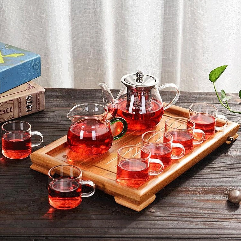 Théière LXF Verre résistant à la Chaleur Kung Fu Set de thé Fleur de Fruit Pot de thé Filtre en Acier Inoxydable Filtre à thé Verre élégant 6 Tasses + Tasse de thé à Base de Plantes + Plateau