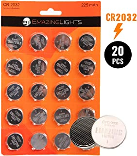 EmazingLights CR2032 Battery (20 Pack), 3V 2032 Batteries Lithium Cell 225 mAh