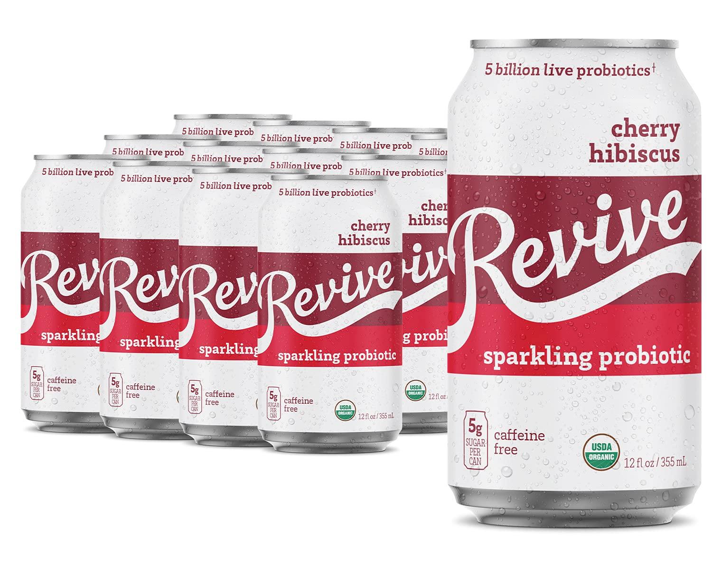 Revive Organic Kombucha Probiotic Drink - No Refrigeration Required - Crisp, Light, Refreshing Sparkling Beverage - 5 Billion Live Probiotics | (Cherry Hibiscus, 12 pack)