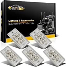 Partsam Roof Running Top Marker Light 5pcs 6LED Clear Lens Waterproof Cab Lights Compatible with Volvo/Freightliner Heavy Duty Trailer Trucks