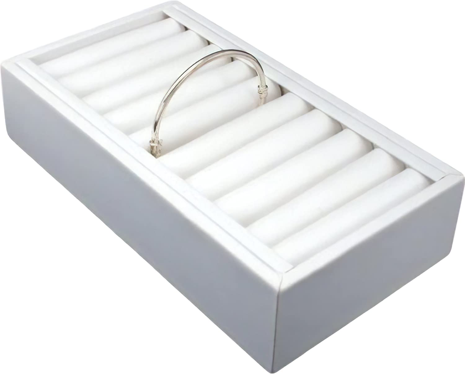 FindingKing White Leather 9 Bangle Fees free!! Display Tray Jewelry Special sale item Bracelet