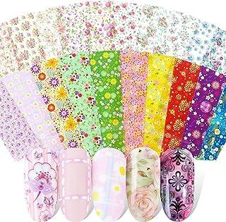 Kalolary 50 Farbe Papel Nail Foil Transfer Nails Glitter Set Papel Transferencia Foil Pegatinas Uñas Holográfico Nail Stickers para DIY Arte de Uñas