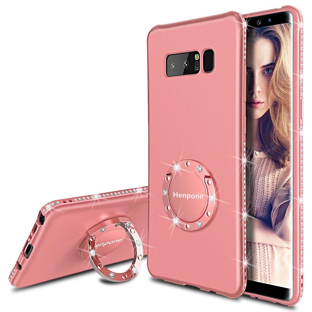 Henpone Funda para Samsung Galaxy Note 8 Rosa, Funda Elegante Brillante Bling Lujosa, Protectora Suave Ultrafina, con Soporte para Anillo, Funda para teléfono para Mujer niña, Rosa: Amazon.es: Electrónica