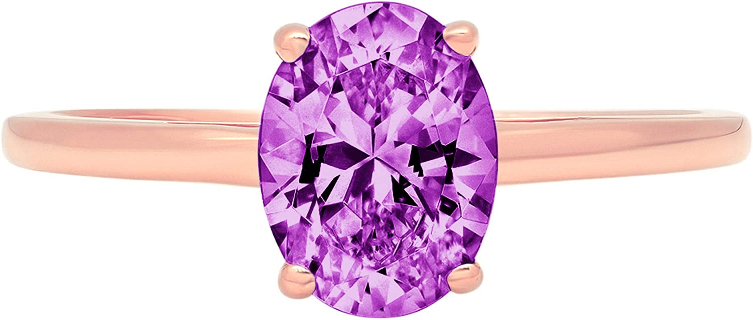 1.0 ct Brilliant Oval Cut Solitaire Flawless Simulated CZ Purple Alexandrite Ideal VVS1 4-Prong Engagement Wedding Bridal Promise Anniversary Designer Ring Solid 14k Rose Gold for Women