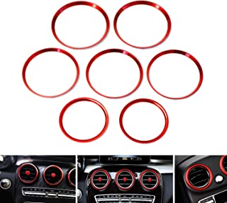 iJDMTOY 7pc Sports Red Aluminum Air Conditioner Vent/Opening Outer Trim Decoration Covers For 2015-up Mercedes W205 C180 C250 C300 C350 C400 C63 AMG, 2016-up GLC Class, etc