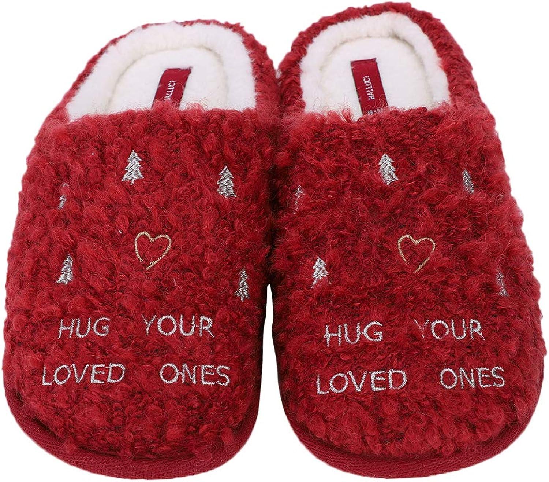 Women Ladies Slippers Home Warm Plush Slippers Winter Autumn Non-Slip Christmas