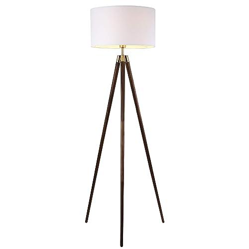 546e74c753 Light Society Celeste Tripod Floor Lamp, Walnut Wood Legs with Antique  Brass Finish and White
