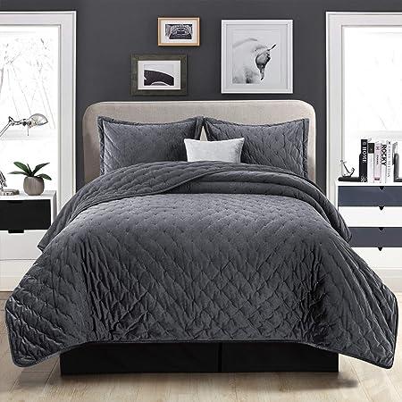 Imperial Rooms Tagesdecke 220x240 Bettüberwurf Samt Steppdecke Bettdecke Wendedesign 3 Stück Bettwäsche Gesteppt Holzkohle Amazon De Küche Haushalt