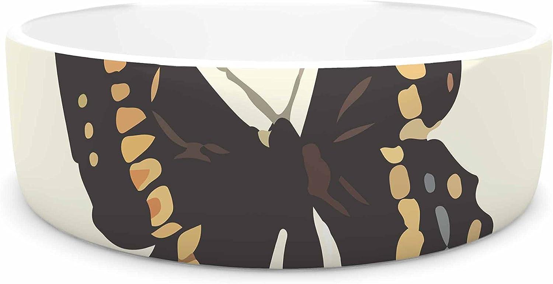 KESS InHouse NL Designs Vintage Butterflies Tan Pet Bowl, 7
