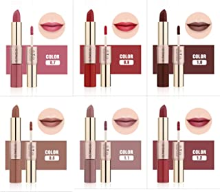 Innovative 6 pcs duo ends long lasting matte nude color one end liquid lipstick + one end Lipstick set (Set 2-Brown Collection)