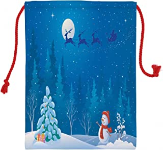 Lunarable Snowman Christmas Gift Sack, Graphics of an Outdoors Winter Scene in The Nighttime Santas Sleigh Flying, Santa Sack Bag Canvas Fabric for Gifts and Storage, 19.8