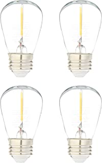 AmazonBasics Replacement LED String Light Bulbs S14 Shape, Edison Style, 1 Watt Power   4-Pack