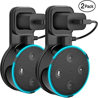 Yuanling Outlet Wall Mount Hanger Stand for Dot 2nd Generation, A Space-Saving Solution for Your Smart Home Speakers Without Messy Wires or Screws (Black 2 Pack)