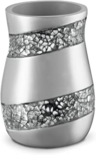 (Tumbler) - Dwellza Silver Mosaic Bathroom Tumbler Holder (7.6cm x 7.6cm x 11cm ) - Decorative Rinse Cup for Water- Durabl...