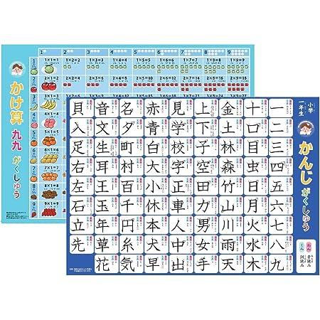 お風呂ポスター かけ算九九と小学校一年漢字 ポスター2枚セット