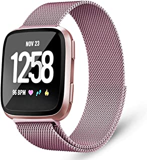 Mosonoi Compatiable with Fitbit Versa Bands, Adjustable Metal Bands Replacement Straps Fit for Fitbit Versa/Versa 2/Versa Lite/Versa Special Edition Women Men