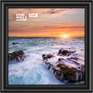 ONE WALL Tempered Glass 8x8 Picture Frame for 8x8 Photo, Black Foil Stamping Pinewood Frame for Wall and Tabletop - Mounting Material Included