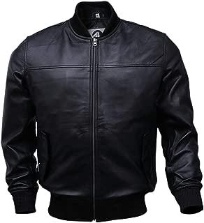 Varsity Bomber Leather Jacket Men | Genuine Lambskin Baseball Flight Jacket