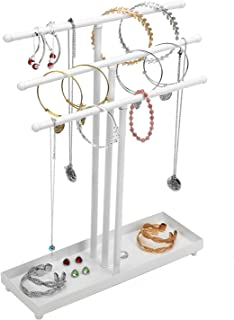 Widousy Modern White Metal 3 Tier Jewelry Tree Stand Organizer Tabletop Bracelet & Necklace Jewelry Organizer