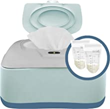 Baby Wipe Warmer, Dispenser, Holder and Case with Bonus 30 Breastmilk Storage Bags - Warmer with Easy Press On/Off Switch,...
