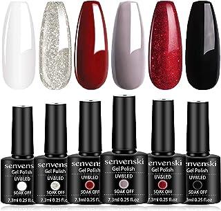 Senvenski Gel Nail Polish White Black Red Glitter Mothers Day Easter Girlfriend Gift for Women Mom Soak Off UV LED Manicur...