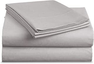 Luxe Bedding Sets - Microfiber Full Sheet Set 4 Piece Bed Sheets, Pillow Cases, Flat Sheet, Deep Pocket Fitted Sheet Set Full Size - Silver Light Gray