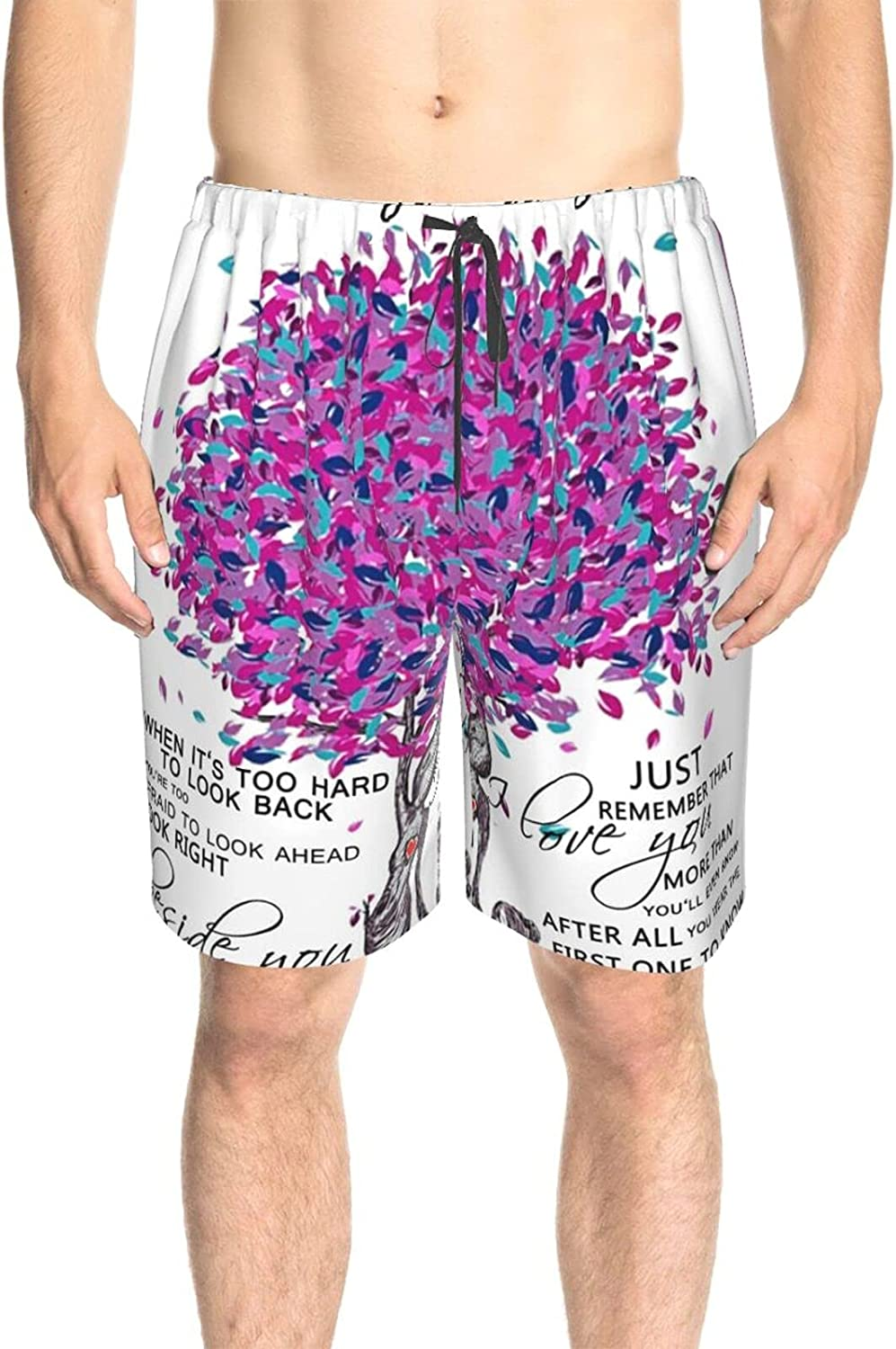 Men's Swim Trunks Always with My Daughter Purple Tree Beach Board Shorts Quick Dry Cool Surf Beach Shorts with Pockets